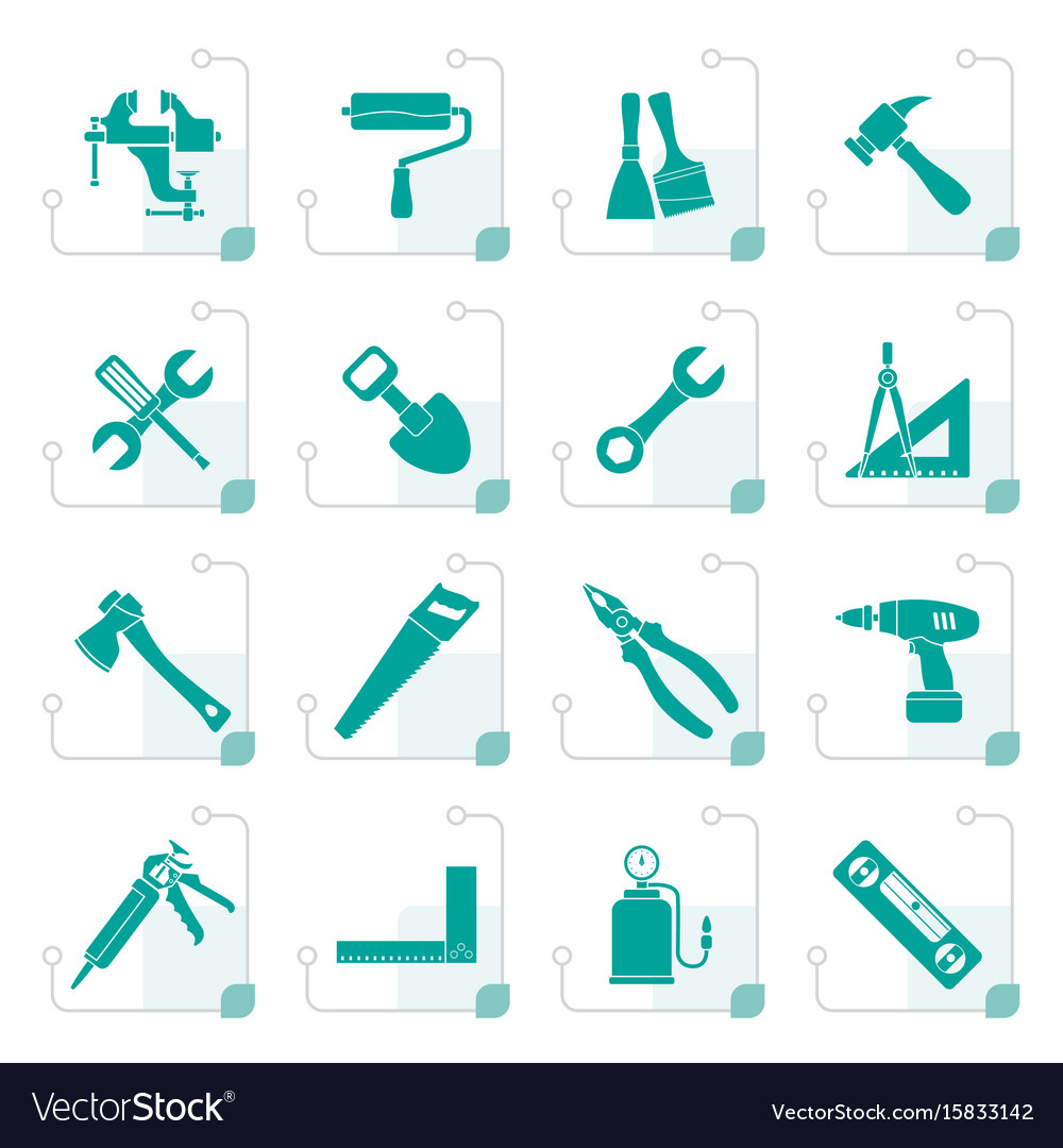 Stylized building and construction work tool icons