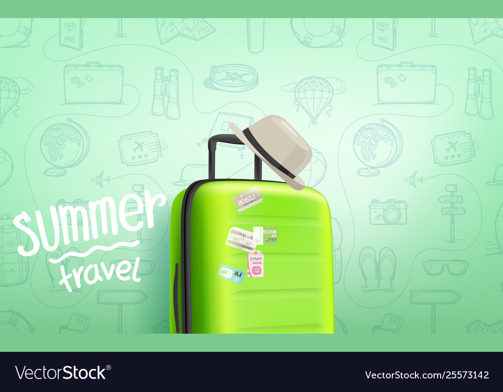 Summer travel concept composition with travel bag