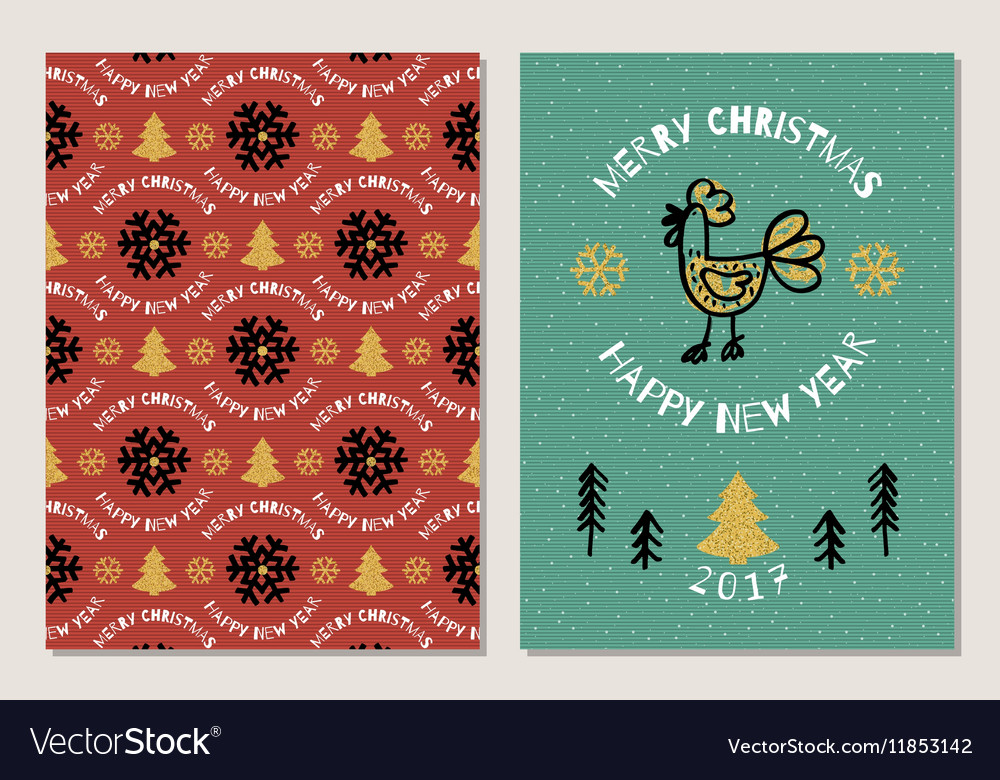 Trendy holiday postcard merry christmas and happy