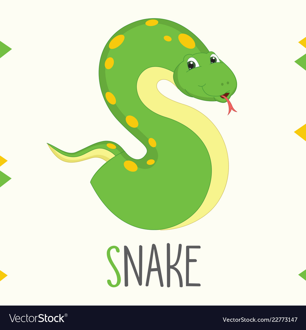 Alphabet letter s and snake