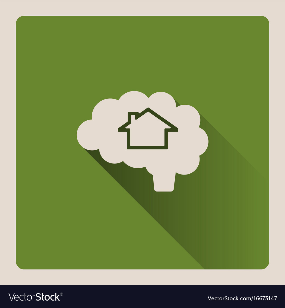 Brain thinking in a house on green background