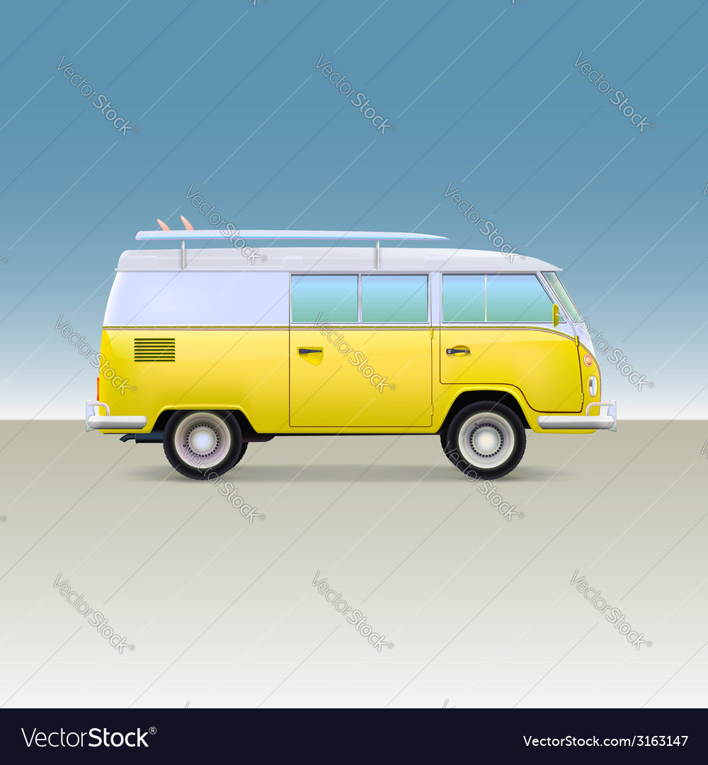 Classic yellow minivan with surfboard Vintage bus