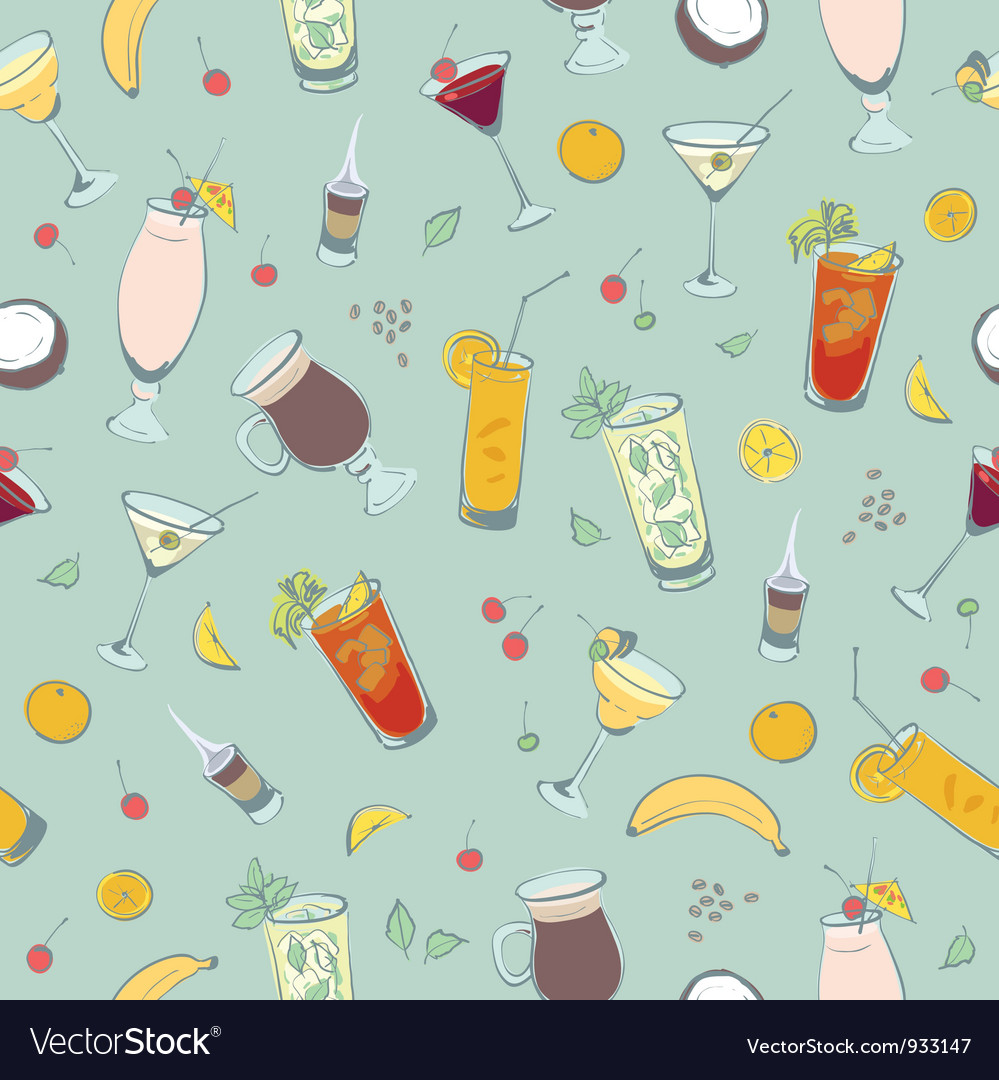 Cocktail drinks hand drawing vector image