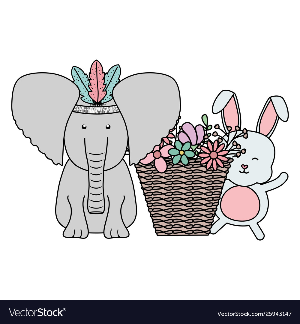 Elephant and rabbit with feathers hat and basket