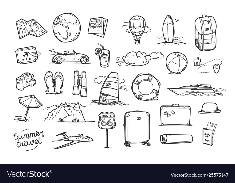Hand drawn travel doodle elements isolated on