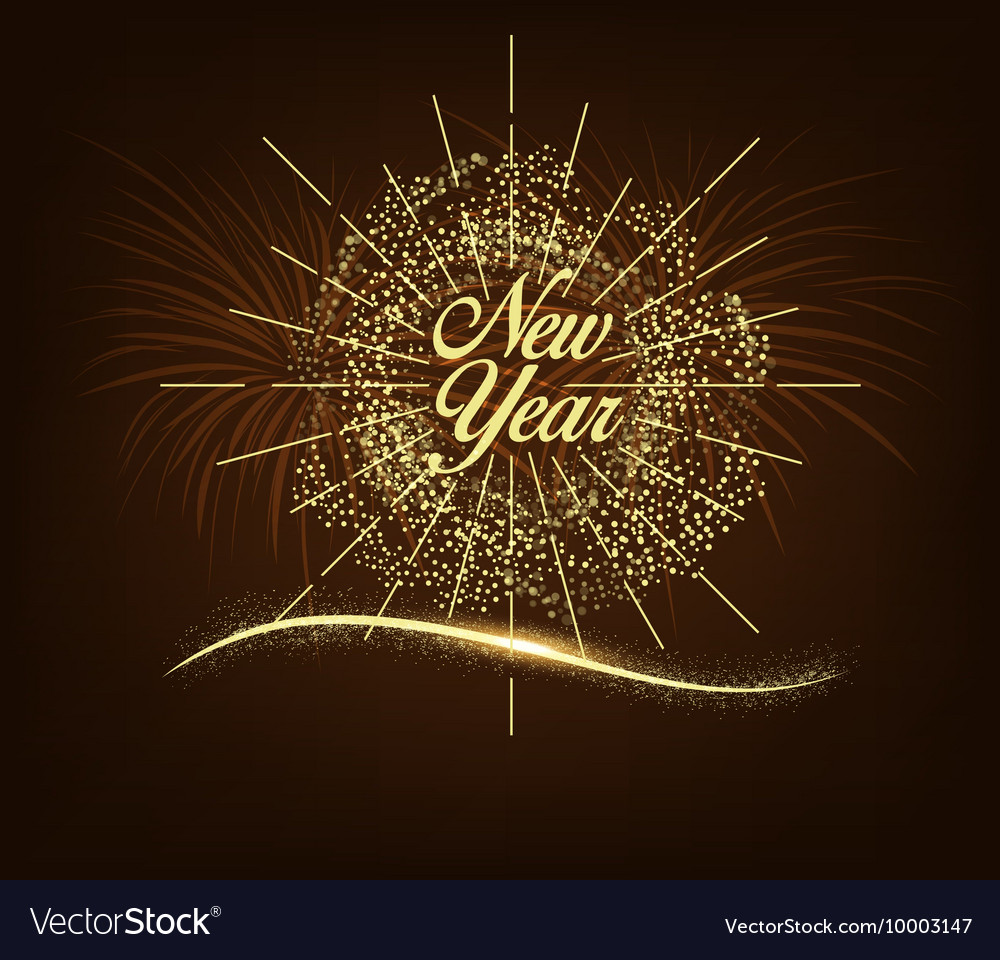 happy new year card with starburst and fireworks vector image