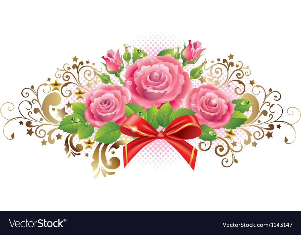 cfd9a1ecd87 Horizontal vignette of roses and golden curls Vector Image