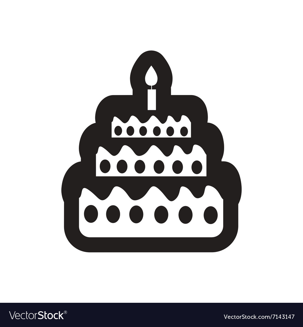 Peachy Style Black And White Icon Birthday Cake With Vector Image Funny Birthday Cards Online Alyptdamsfinfo