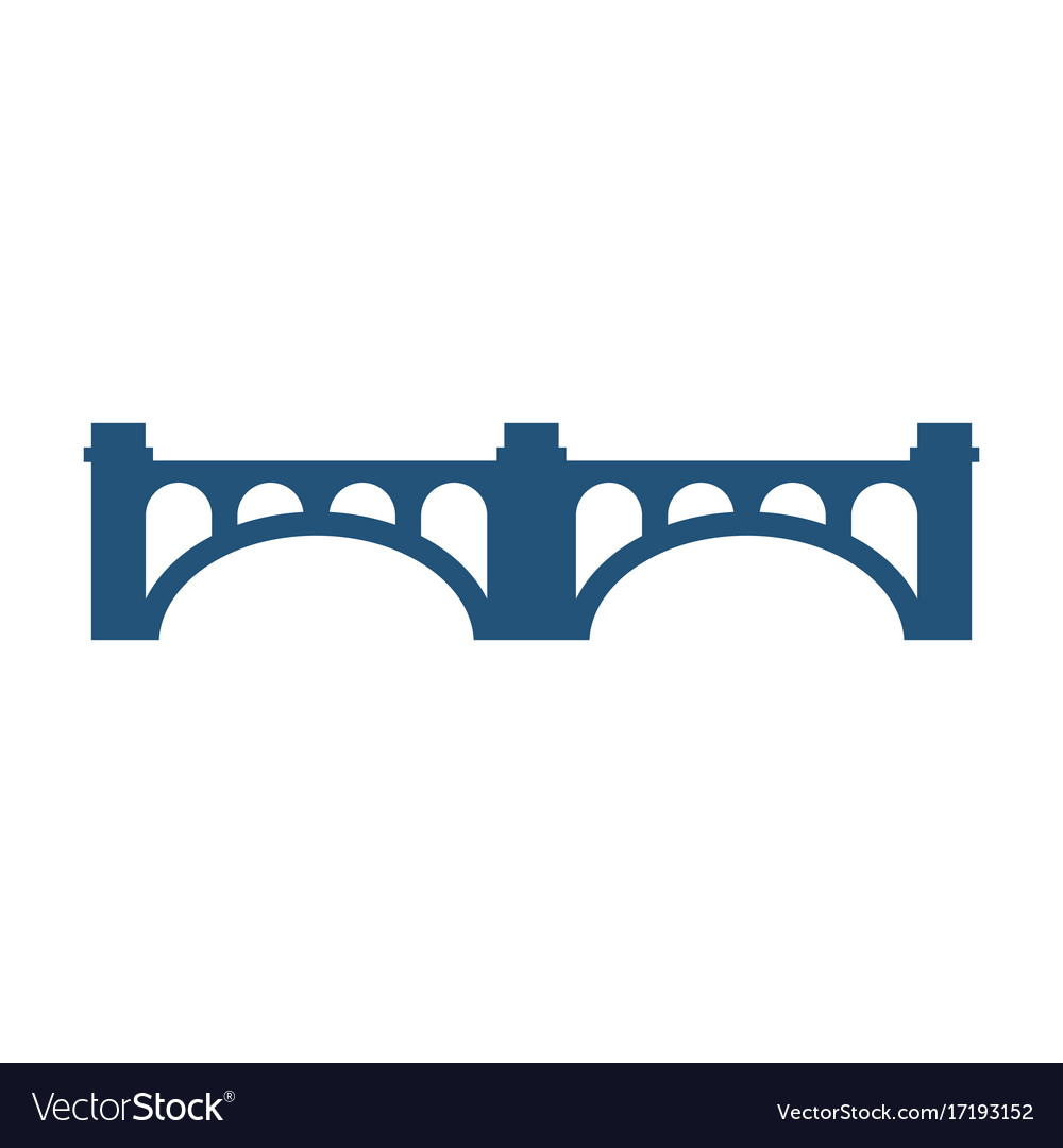 Arched bridge with columns silhouette