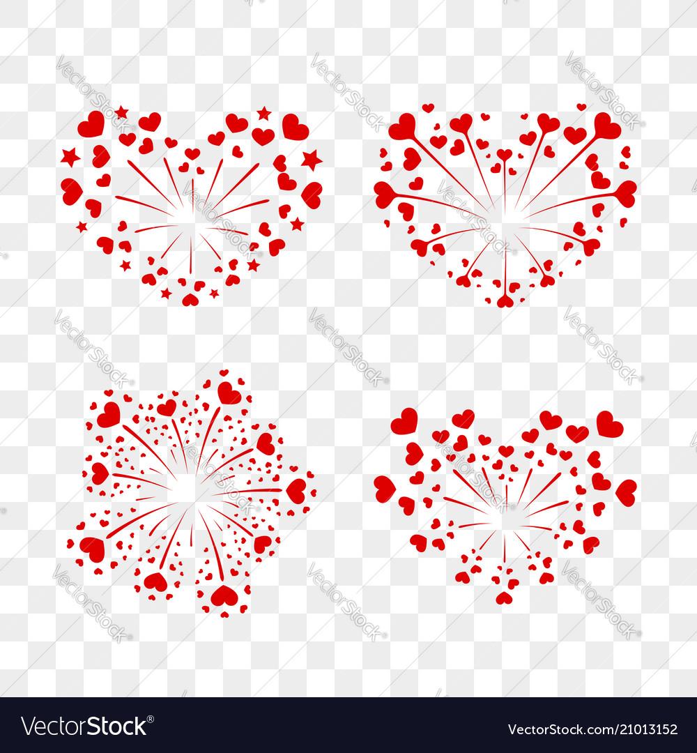 Beautiful heart-fireworks set romantic salute