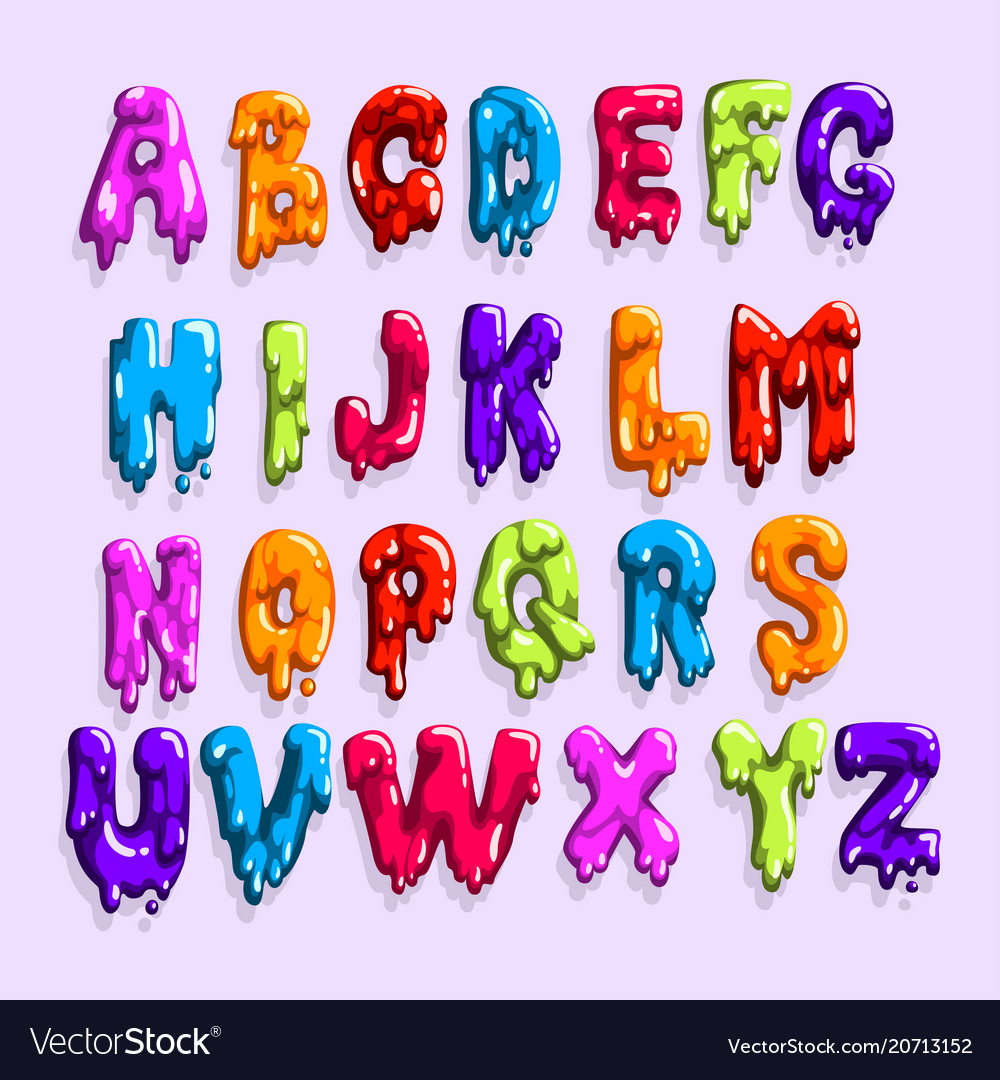 Bright-colored latin alphabet made of sweet jelly