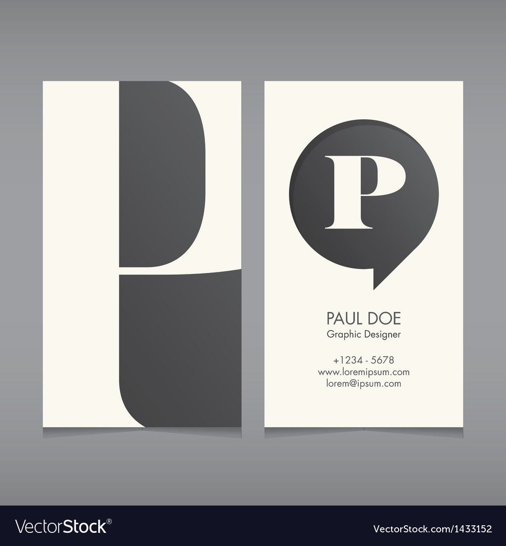 Business card template letter P
