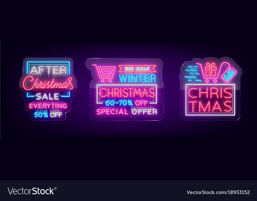 Neon Signs For Sale >> Christmas Sales Collection Neon Signs Signs Vector Image