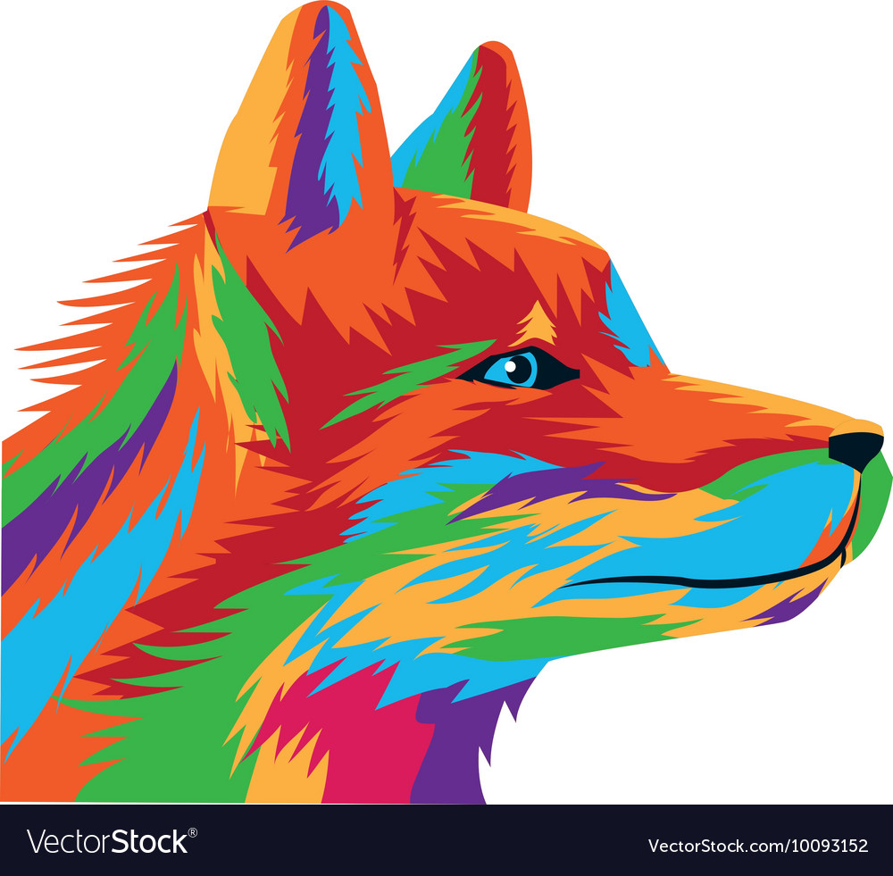 Colorful wolf drawing icon vector image
