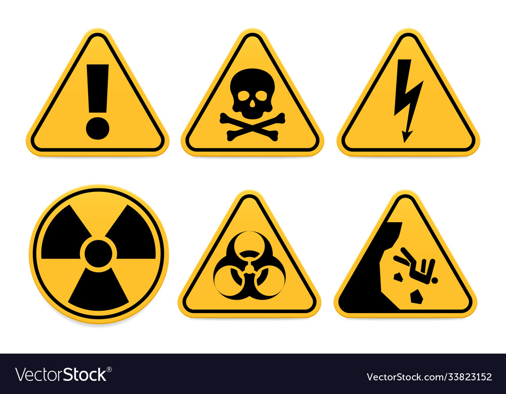 Danger signs safety symbol alert icon and vector