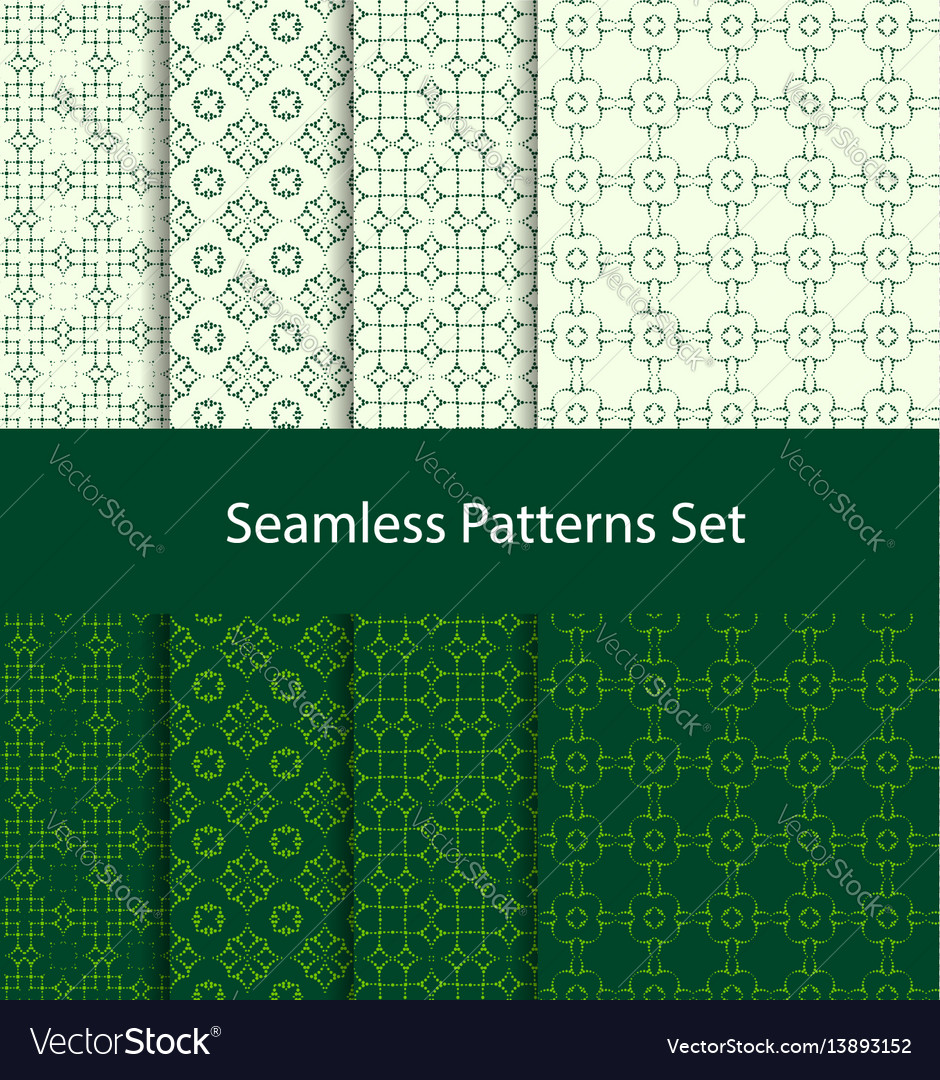 Dotted oriental motif seamless pattern set