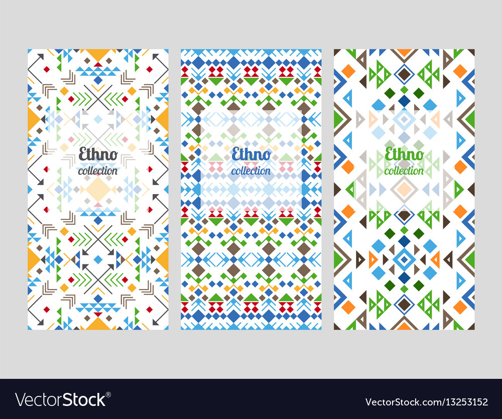 Ethno flyers with geometric patterns vector image