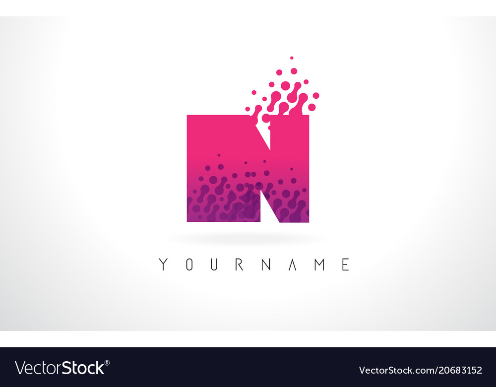 In i n letter logo with pink purple color and