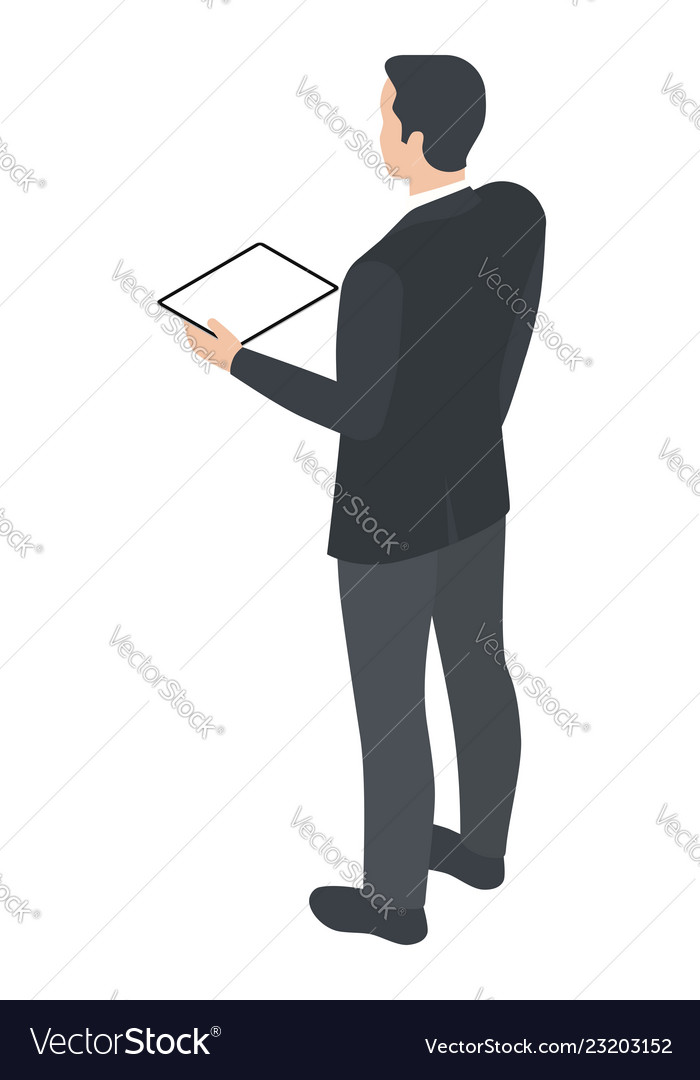 Isometric man with tablet pc