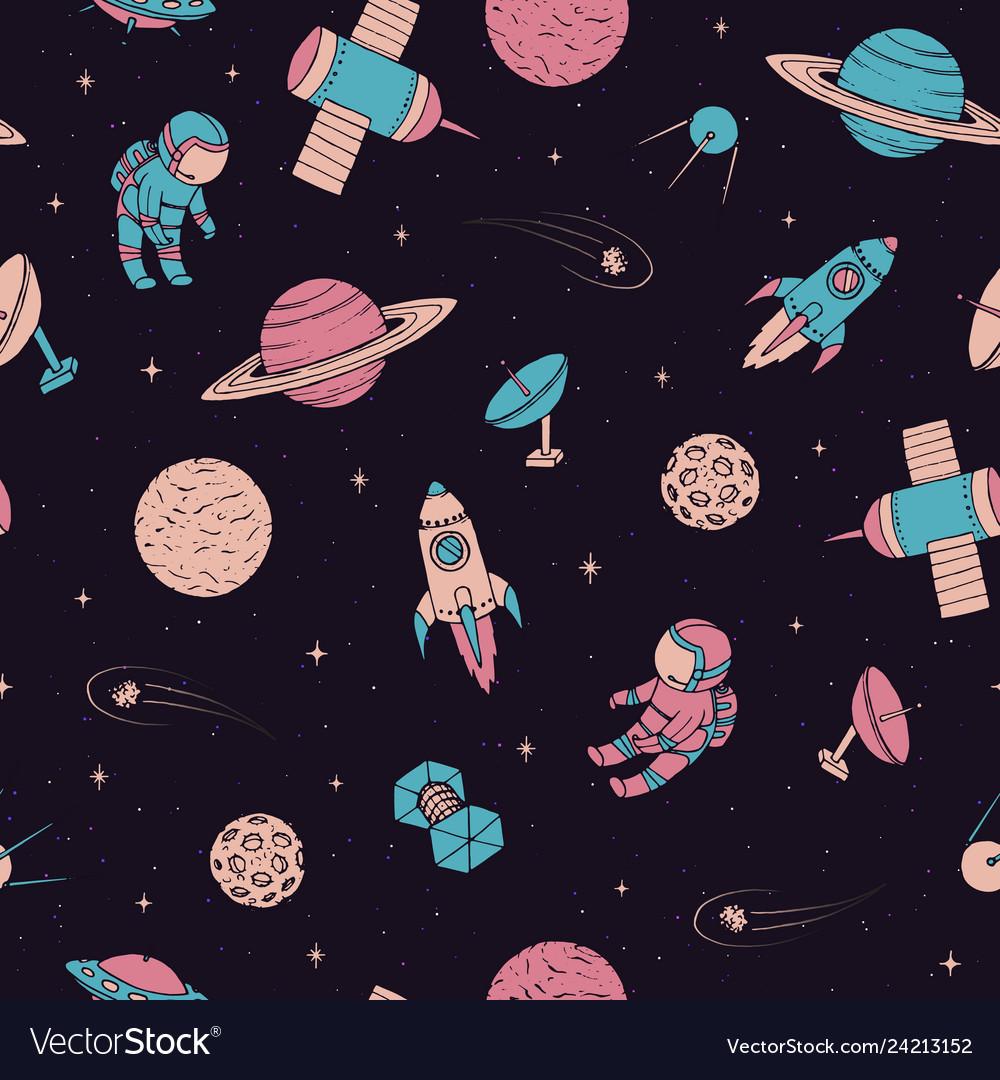 Pattern with cosmonaut satellites planet rocket