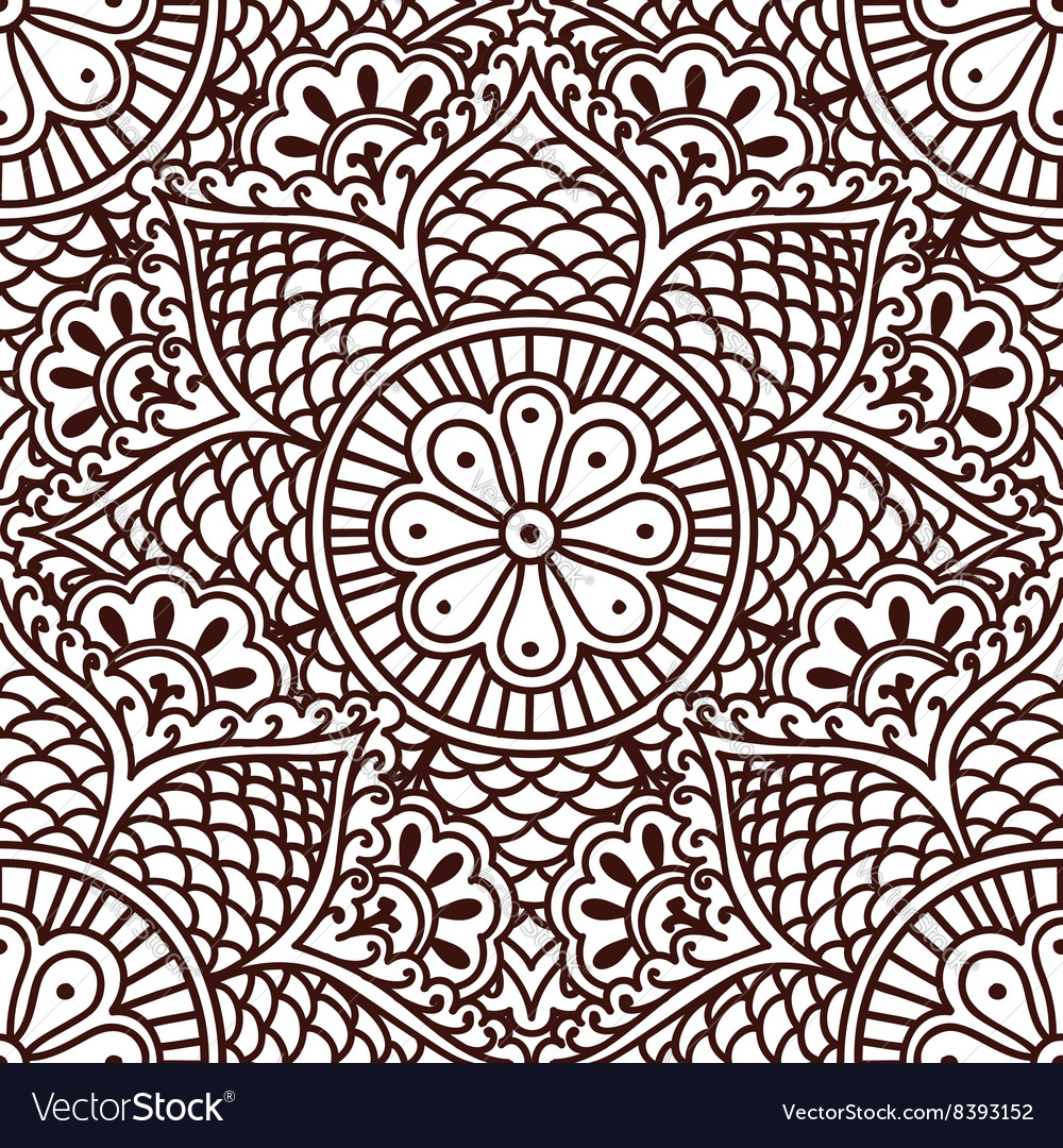 Seamless paisley pattern with flowers in the Asian