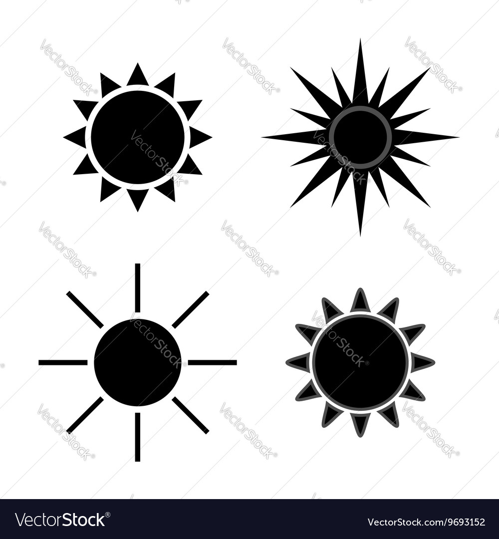 Sun icons set gray isolated