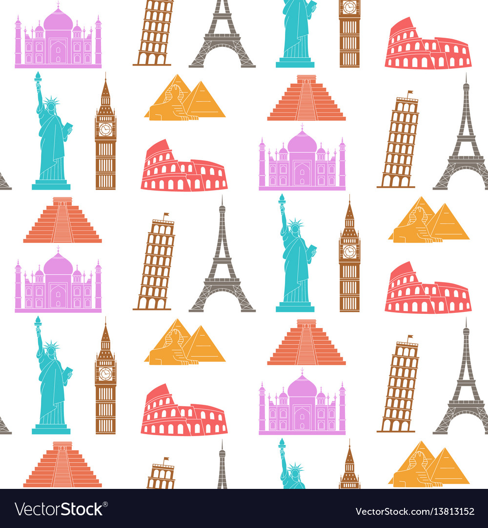 World landmarks seamless background