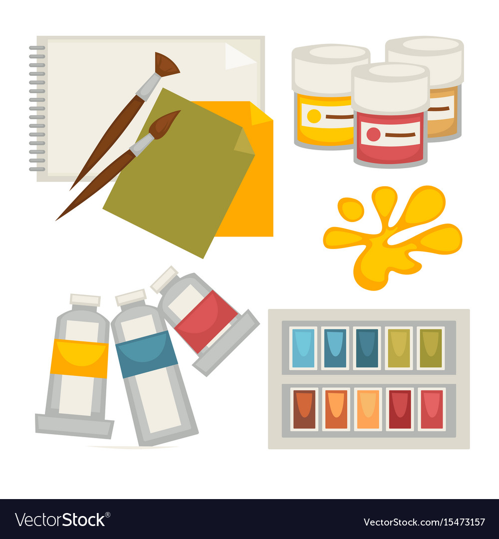 Artists supplies set in colors isolated on white