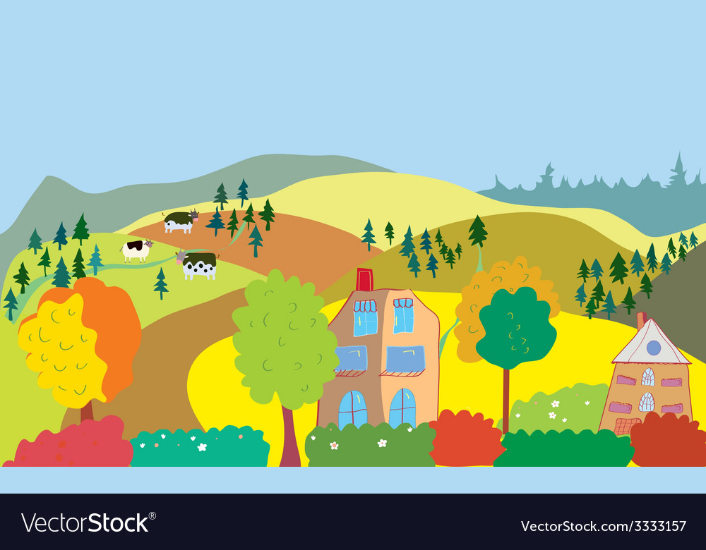 Autumn countryside landscape with trees houses