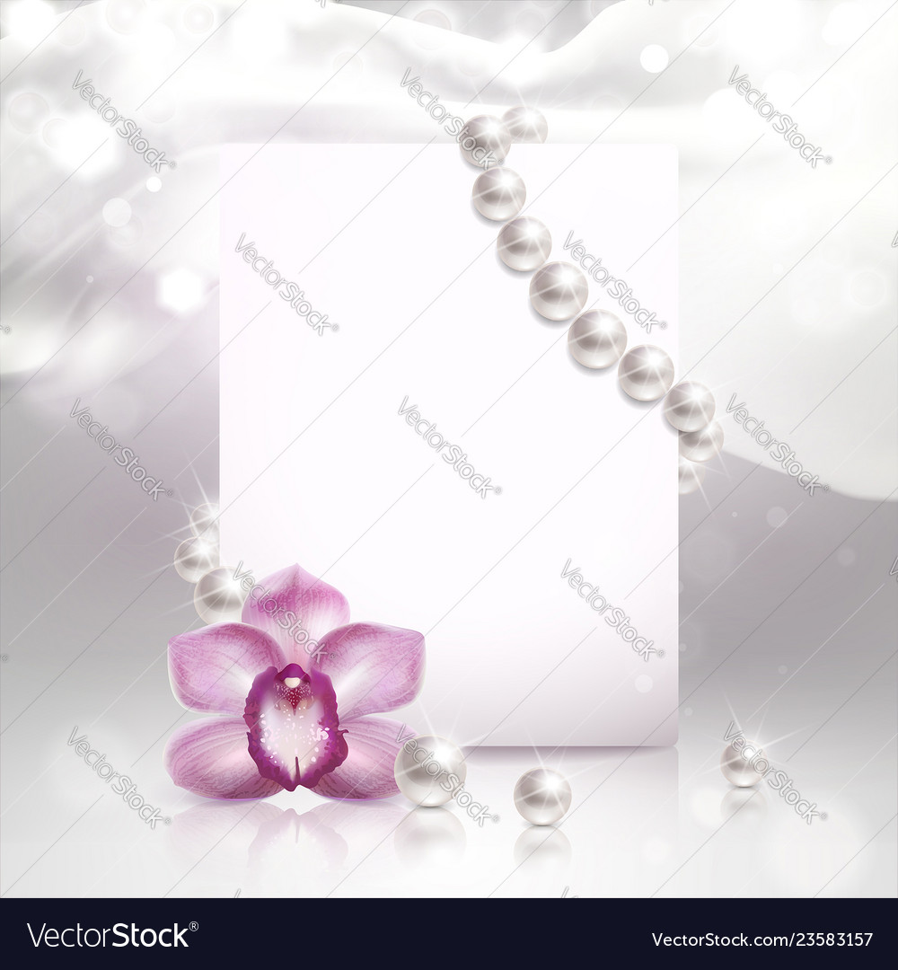 Banner with orchid and pearls