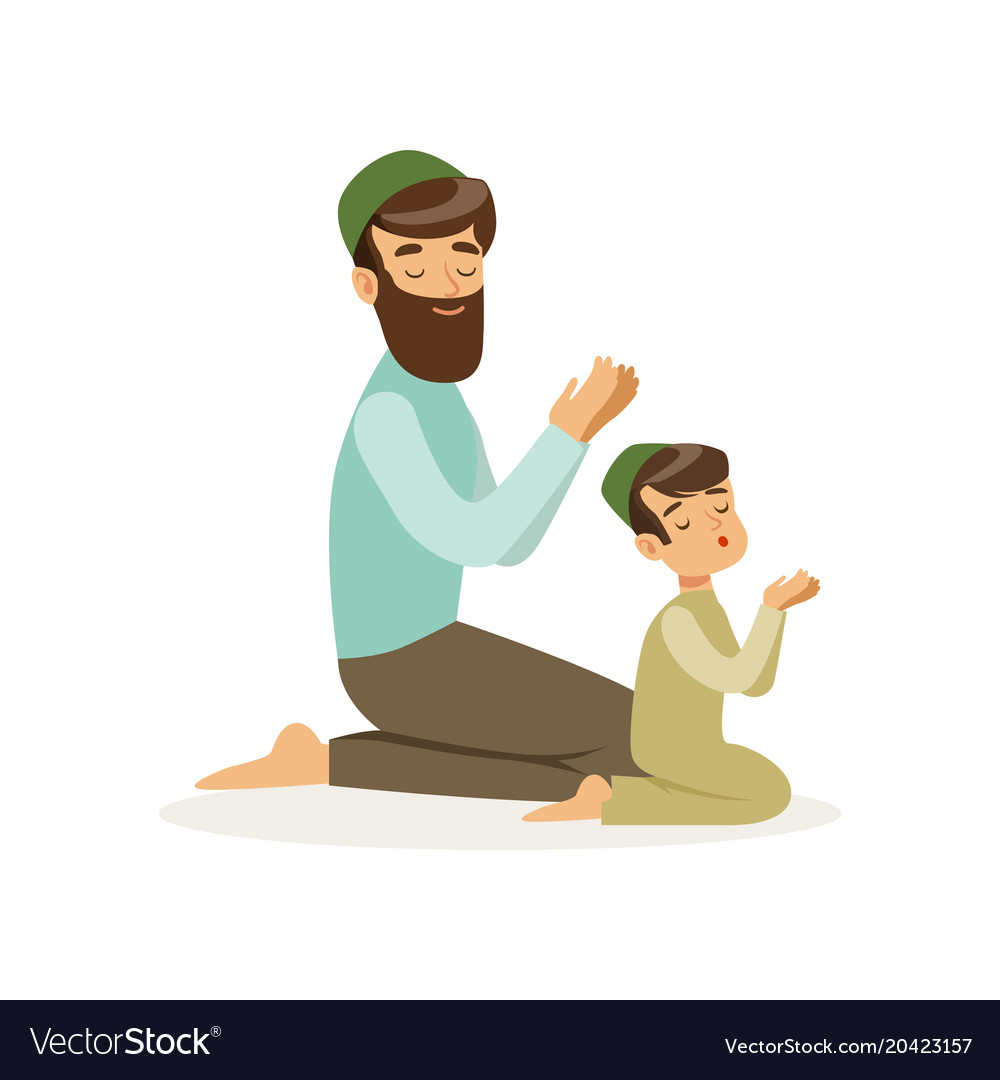 Bearded muslim man and his son praying to allah vector image