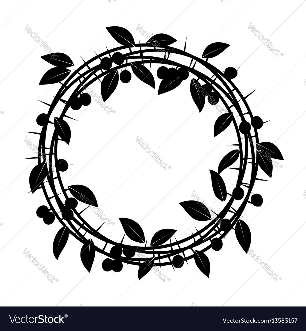 Blackthorn berries branches and leaves frame