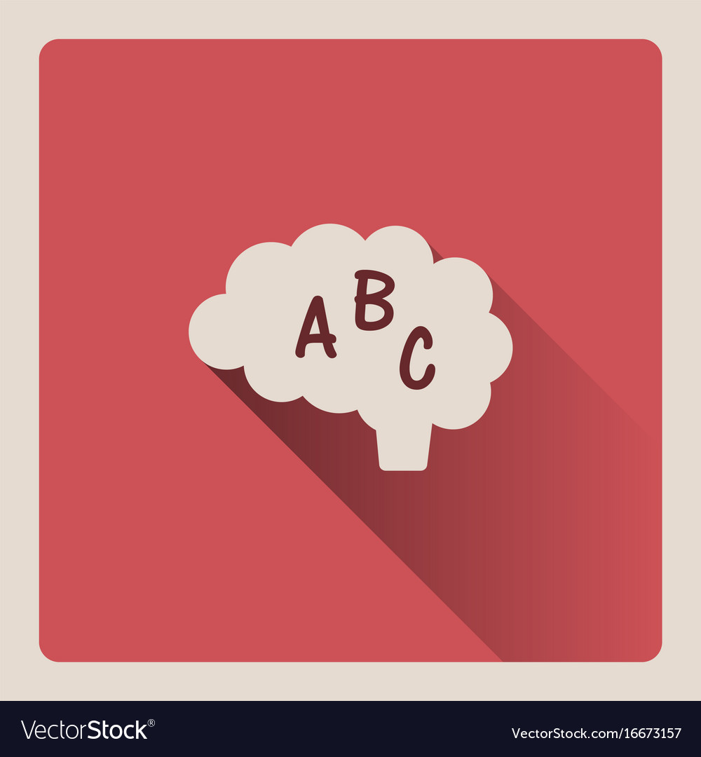 Brain thinking in language on red background with vector image