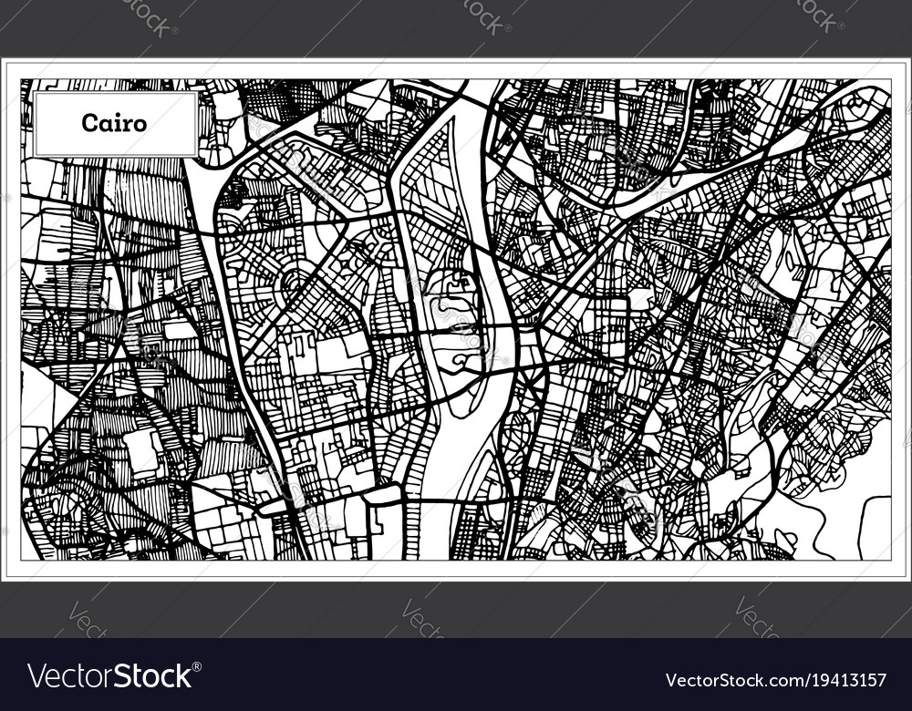 Cairo egypt city map in black and white color Vector Image
