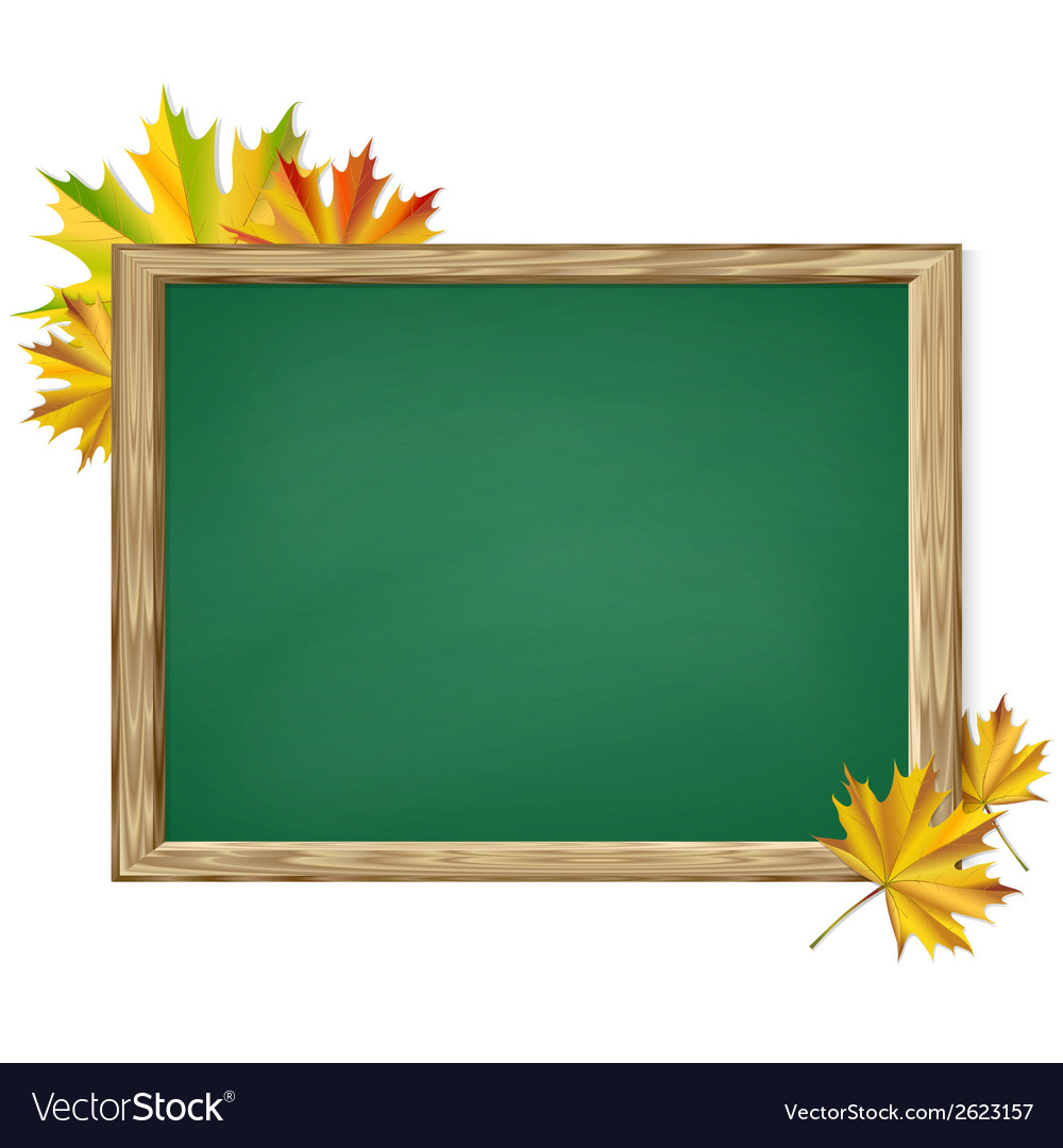 Chalkboard and autumn leaves