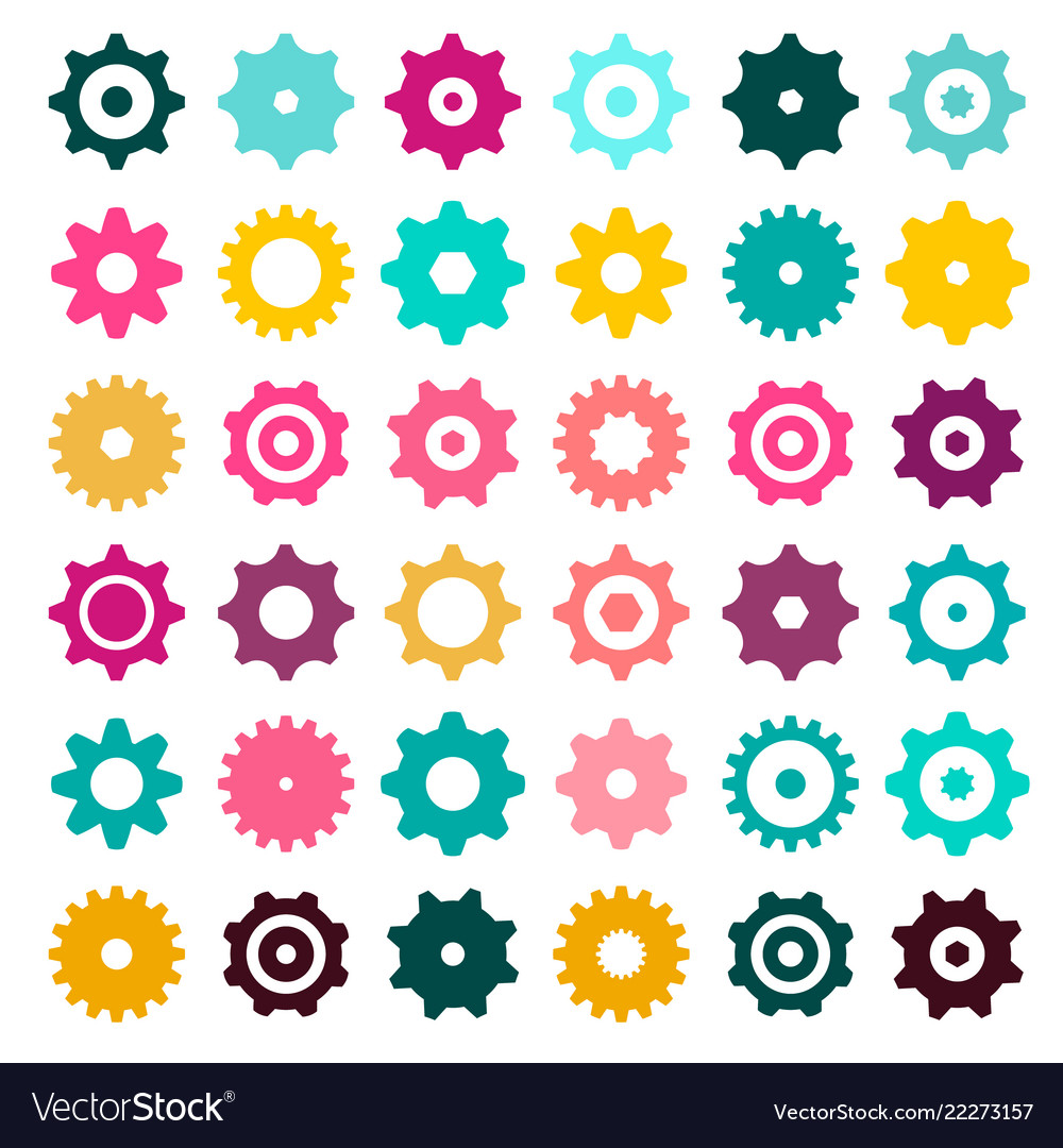 Colorful cogs - gears cog gear icons set isolated