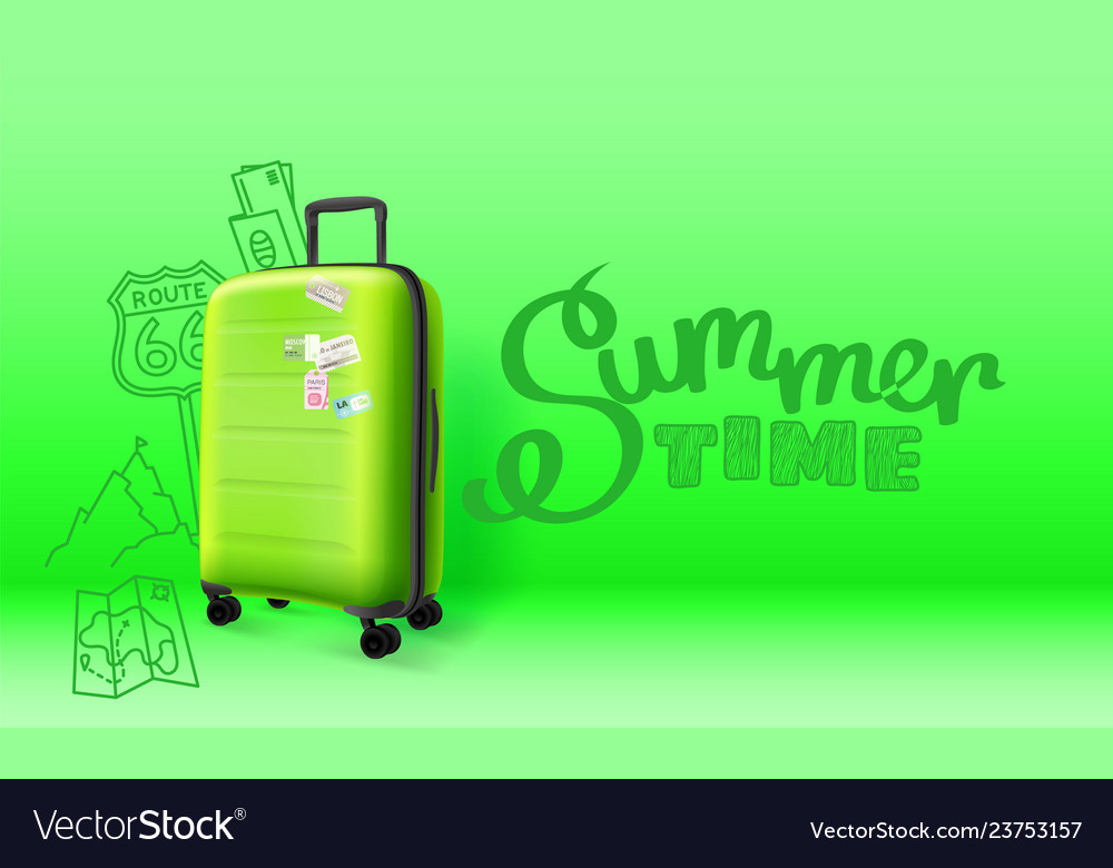 Green plastic suitcase on green background summer
