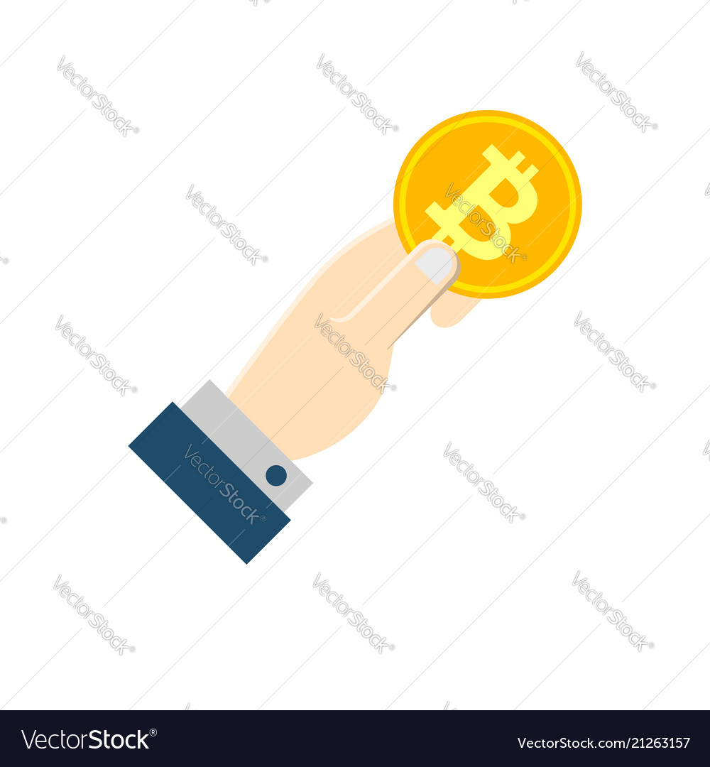 Hand with bitcoin flat icon