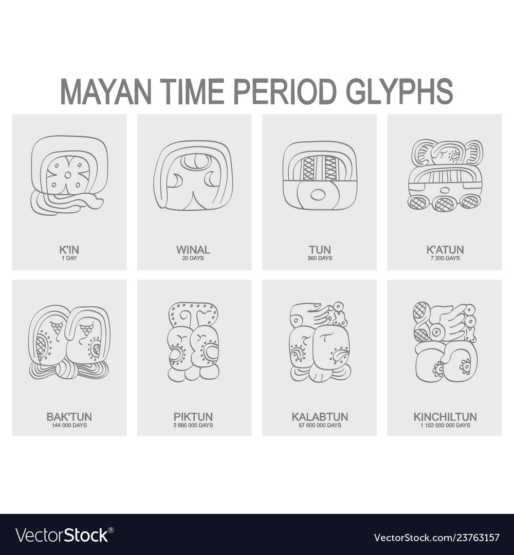 Icon set with mayan time period