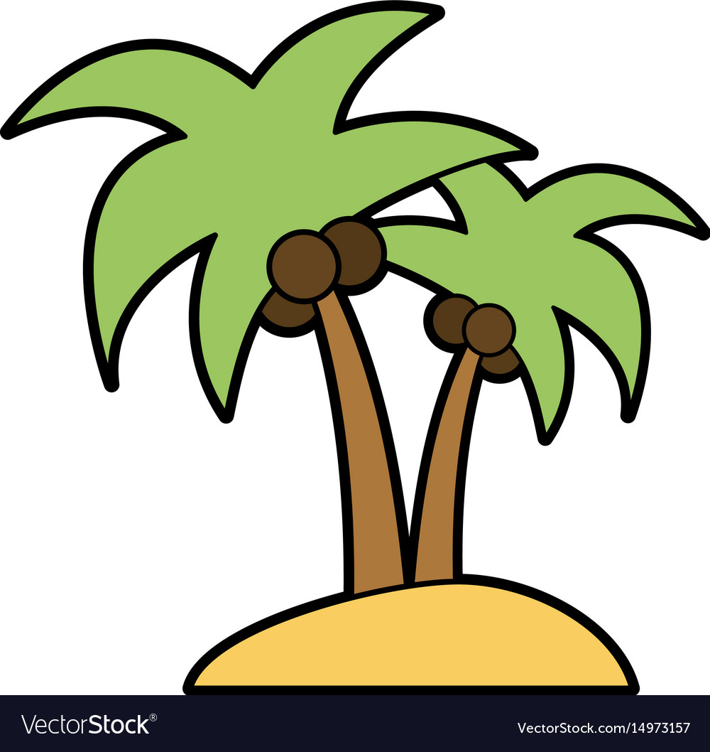 Isolated island with palm tree icon image