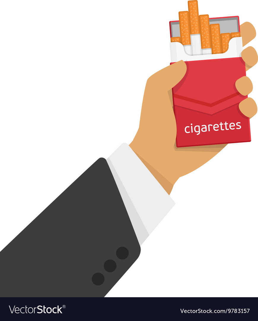 Pack of cigarettes in hand