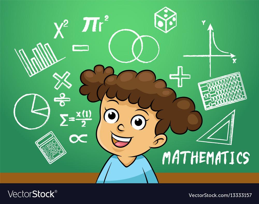School girl write math sign object in school