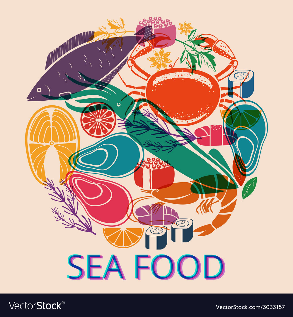 Seafood Graphic with Various Fish and Shellfish