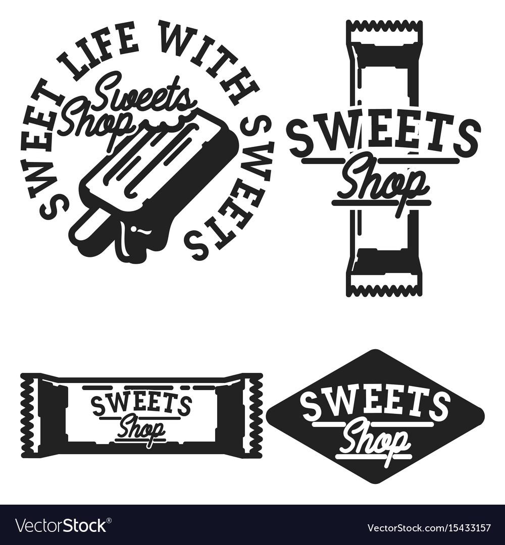 Vintage sweets shop emblems