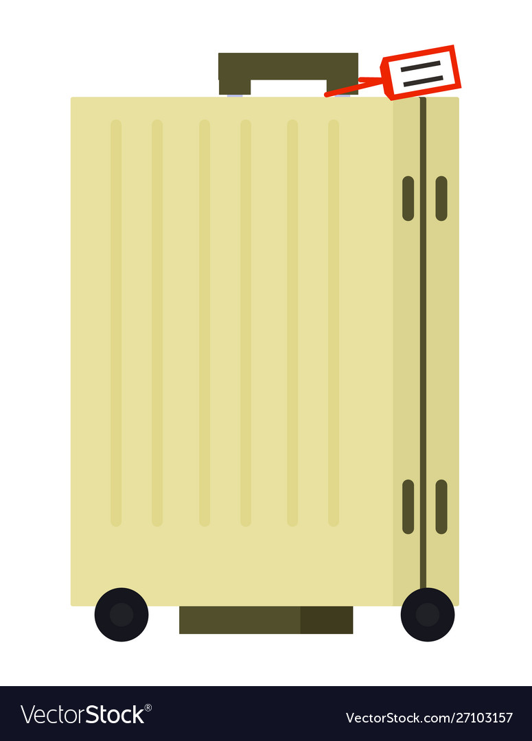 Yellow suitcase on wheels with tag image