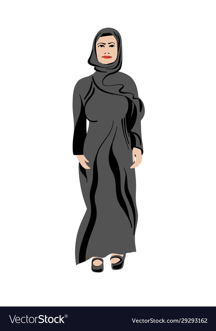 Arabian muslim women in abaya - traditional closes