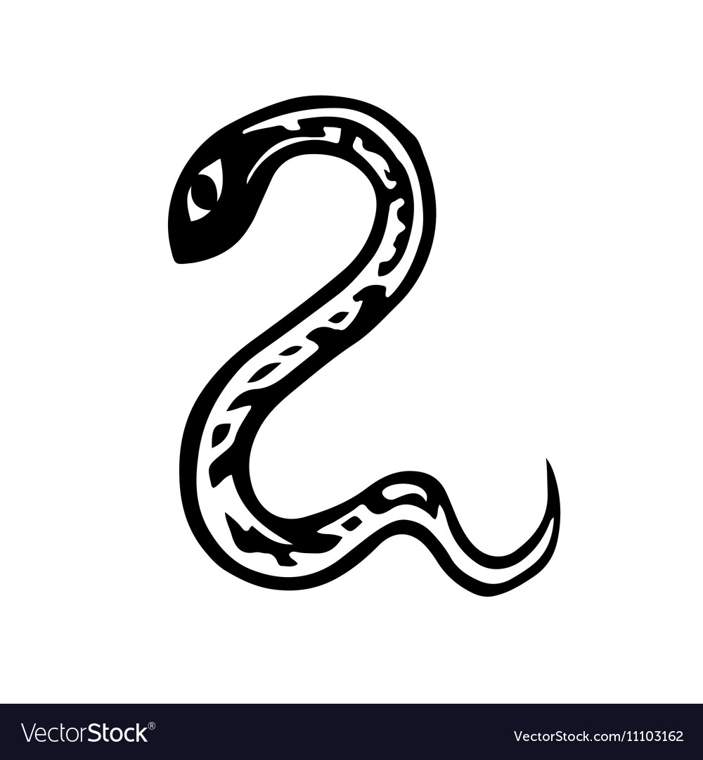 artistic symbol of a snake black and white snake a