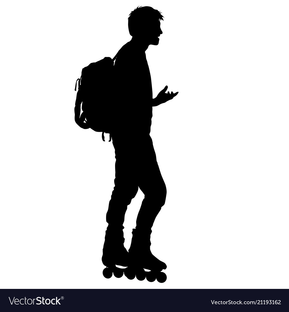 Black silhouette of an athlete on roller skates on