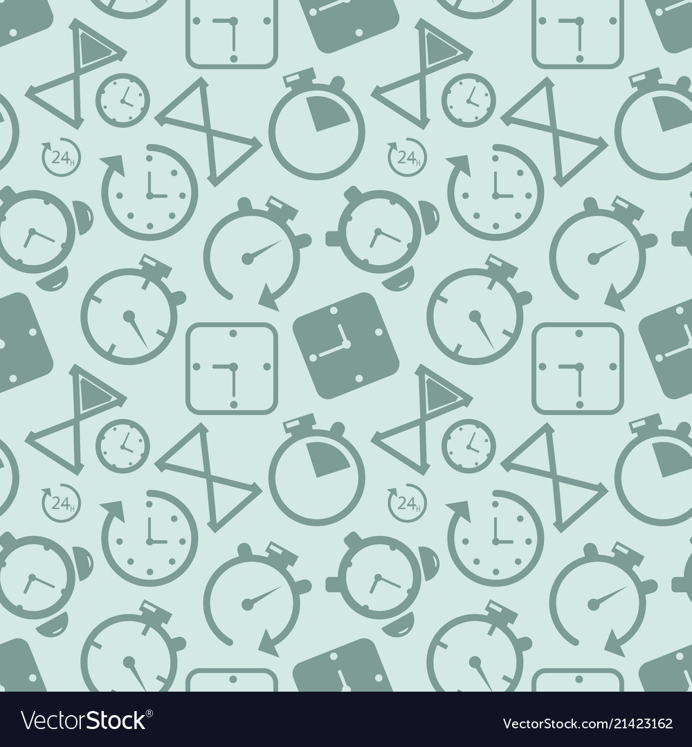 Clock timer icon seamless pattern background