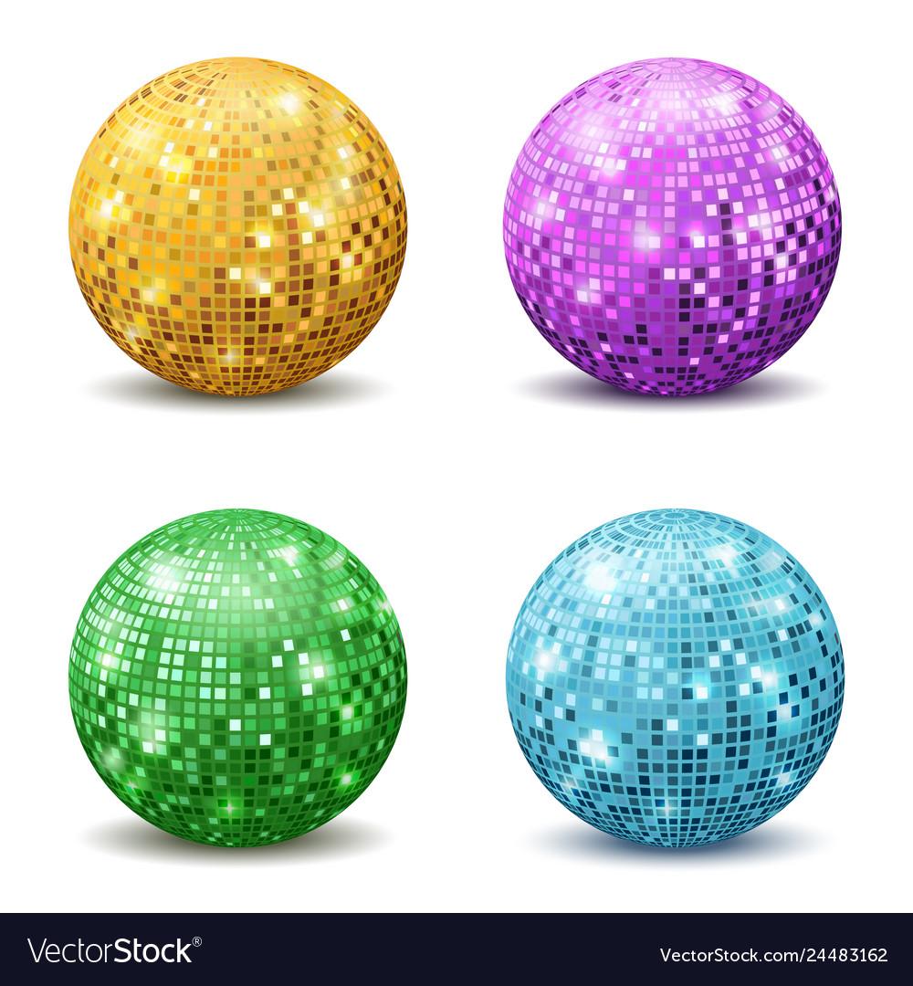 Color disco balls realistic reflection ball